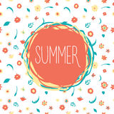 Summer flowers banner. With a text royalty free illustration