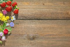 Summer Flowers and Berries on Grunge Wood  Board. Flowers and Berries on Grunge Wood Table. Abstract Summer  Arrangment Background Royalty Free Stock Images