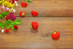 Summer Flowers and Berries on Grunge Wood Table Stock Photography