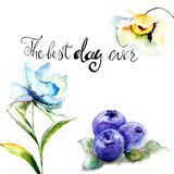 Summer flowers and Blueberries with title the best day ever. Watercolor illustration Royalty Free Stock Photos