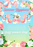 Summer flowers bouquet greeting vector poster Royalty Free Stock Photo