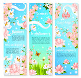 Summer flowers bouquets vector banners Stock Images