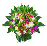 Summer flowers bunch with decorative leaves, isolated Royalty Free Stock Photo