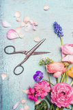 Summer flowers bunch making with various colorful flowers from garden and shears on blue vintage shabby chic background, top view Royalty Free Stock Photos