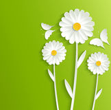 Summer flowers with butterflies on a bright green background. Illustration Royalty Free Stock Photo