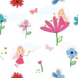Summer flowers, butterflies and fairy pattern wallpaper. Cute girl. Princess. Fairy tale vector illustration