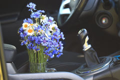 Summer flowers in car stock photos