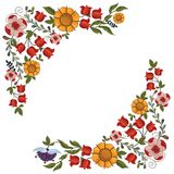 Summer Flowers corner elements Royalty Free Stock Photography