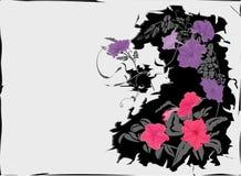 Summer flowers crackle background stock illustration