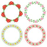 Summer flowers dahlia in decorative frames - vector round decorations stock illustration
