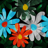 Summer flowers on dark background seamless pattern Stock Photo