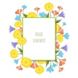 Summer flowers design template. Hello summer abstract background. Summer flowers vector design template. Hello summer abstract background Royalty Free Stock Photography