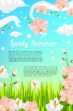 Summer flowers and floral blooms vector poster Royalty Free Stock Photography