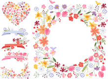 Summer flowers - frame,heart and decor Stock Photo