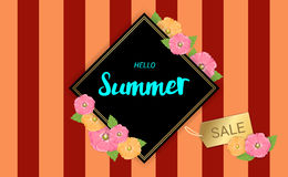 Summer Flowers frame or Summer floral Design on colorful stripe Stock Photography
