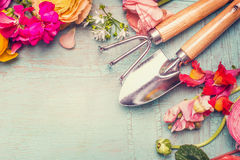 Summer flowers and gardening tools on vintage shabby chic background, top view. Copy space royalty free stock photos