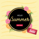 Summer Flowers gold frame or Summer floral Design on yellow back. Ground Stock Photo