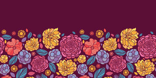 Summer flowers horizontal seamless pattern Stock Photography