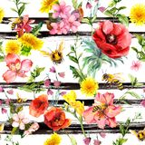 Summer flowers, meadow grass, bees at monochrome striped background. Repeating floral pattern. Watercolor and black royalty free illustration