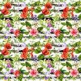 Summer flowers, meadow grass at monochrome striped background. Repeating floral pattern. Watercolor with black stripes vector illustration