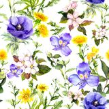 Summer flowers, meadow grasses, spring herbs. Seamless natural background. Watercolor in blue color vector illustration