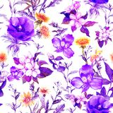 Summer flowers, meadow grasses, spring herbs. Seamless natural background. Watercolor in ultra violet color royalty free illustration