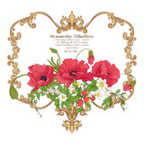 Summer flowers: poppy, daffodil, anemone, violet, in botanical s. Tyle with vintage rococo frame for text. Good for greeting card for birthday, invitation or vector illustration