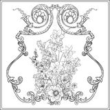Summer flowers: poppy, daffodil, anemone, violet, in botanical. Style with vintage rococo frame for text. Stock line vector illustration. Outline hand drawing Royalty Free Stock Photo