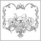 Summer flowers: poppy, daffodil, anemone, violet, in botanical. Style with vintage rococo frame for text. Stock line vector illustration. Outline hand drawing vector illustration
