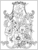 Summer flowers: poppy, daffodil, anemone, violet, in botanical. Summer flowers: poppy, daffodil, anemone, violet, in botanical style with vintage rococo frame Stock Images