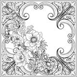 Summer flowers: poppy, daffodil, anemone, violet, in botanical. Style with vintage rococo frame for text. Stock line vector illustration. Outline hand drawing Royalty Free Stock Photography