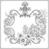 Summer flowers: poppy, daffodil, anemone, violet, in botanical. Style with vintage rococo frame for text. Stock line vector illustration. Outline hand drawing Stock Photos