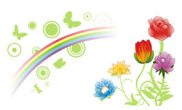 Summer flowers & rainbow. Vector abstract with flowers, butterflies and a rainbow Royalty Free Stock Image