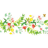 Summer flowers seamless horizontal vector banner Stock Image