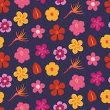 Summer flowers seamless pattern stock photo