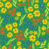 Summer flowers seamless vector repeat pattern. Hand drawn florals background green, yellow, blue. Scandinavian doodle flat ditsy royalty free illustration