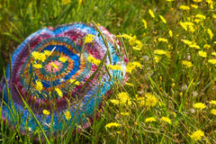 Summer flowers on a striped crocheted pillows Royalty Free Stock Photo