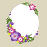 Summer flowers. Template for text with floral decoration on a beige background vector illustration