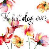 Summer flowers with title the best day ever. Watercolor painting Royalty Free Stock Photo