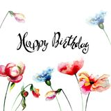 Summer flowers with title Happy Birthday. Watercolor illustration Royalty Free Stock Photography