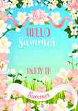 Summer flowers vector poster of flourish bouquets Royalty Free Stock Photo