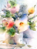 Summer Flowers Watercolor Illustration Hand Painted Stock Photography