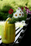 Summer flowers in watering can stock image