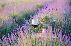 Summer flowers and wine. Royalty Free Stock Photography