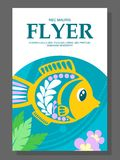 Summer flyer with a decorative fish on the ocean floor and algae near it. Illustration Stock Images
