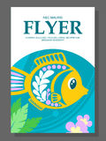 Summer flyer with a decorative fish on the ocean floor and algae near it. Vector. Illustration Royalty Free Stock Photography
