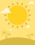 Summer flyer design with sun and palm trees Stock Photos