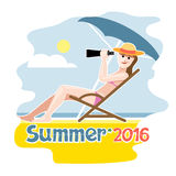 Summer 2016 flyer. With a girl lying on a beach chair with hat Royalty Free Stock Image