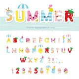 Summer font. Creative cartoon letters and numbers. For posters, banners, kids birthday, clothing design. Vector vector illustration