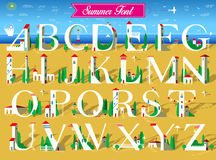 Summer Font. White houses on the beach Stock Photo